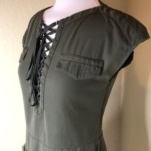 The Kooples | Green Lace Up Cargo Dress